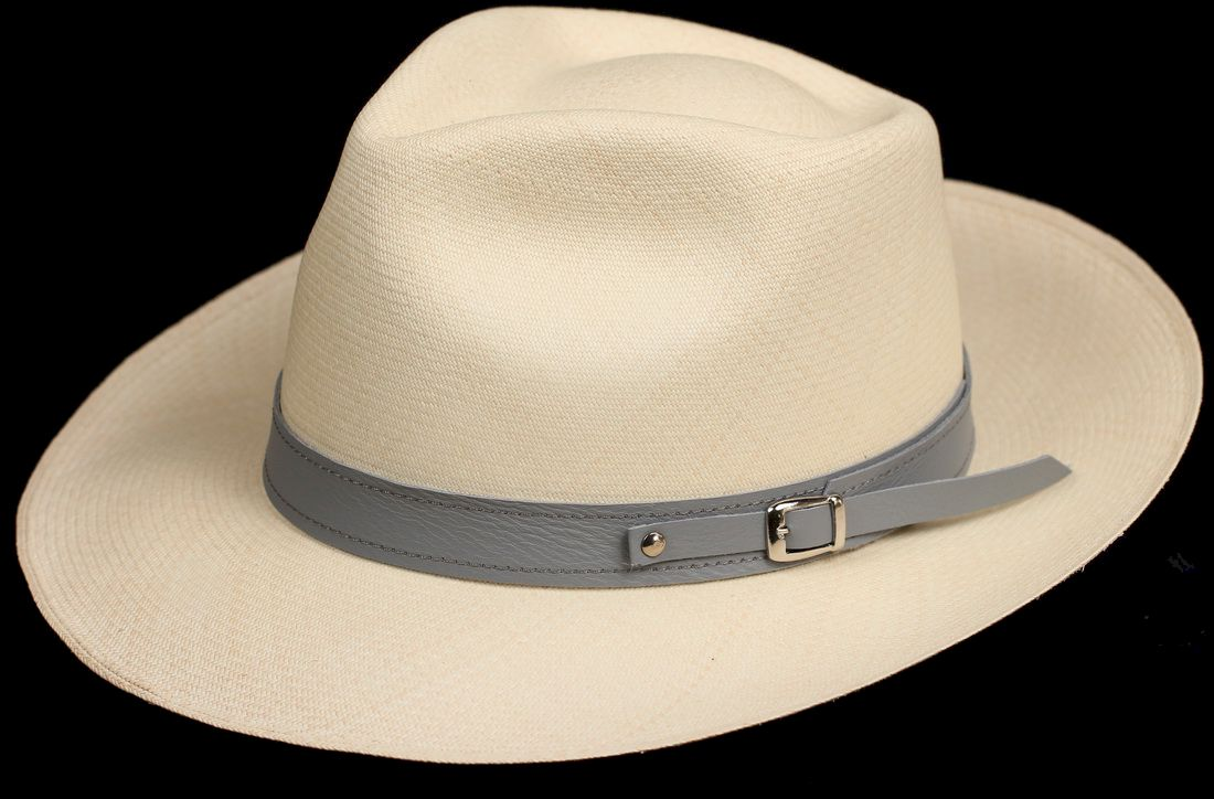 Grey 1 inch Leather hat band