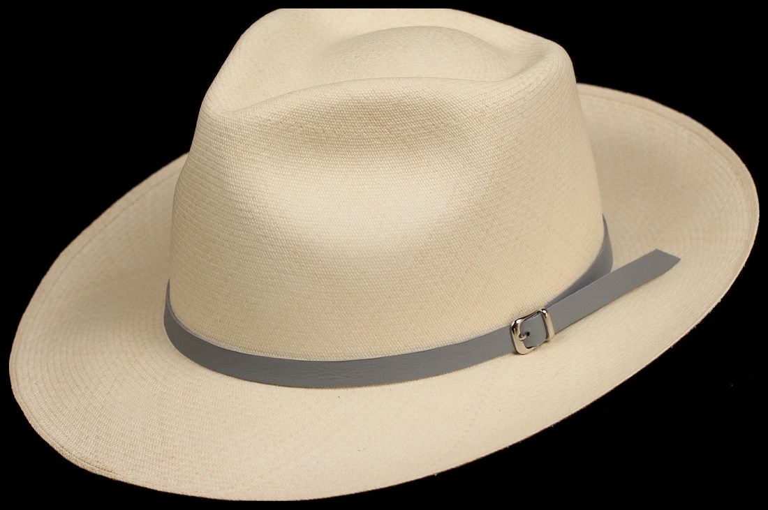 Grey half inch Leather hat band