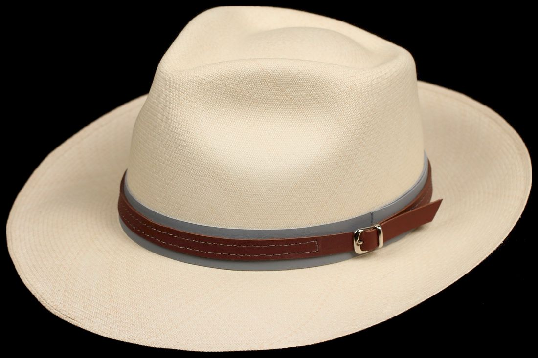 Brown on Grey 1 inch Leather hat band
